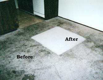 Before and after carpet cleaning with heavy grease and food spills
