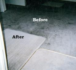Before and after cleaning of off white carpet with parking lot grease