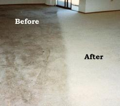 Before and after carpet cleaning with ground in dirt and grease